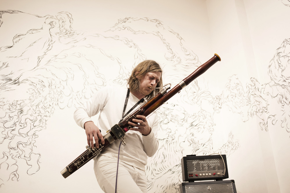 Fritz Brückner playing bassoon @ the equilibrium exhibition - photo by Ana Baumgart