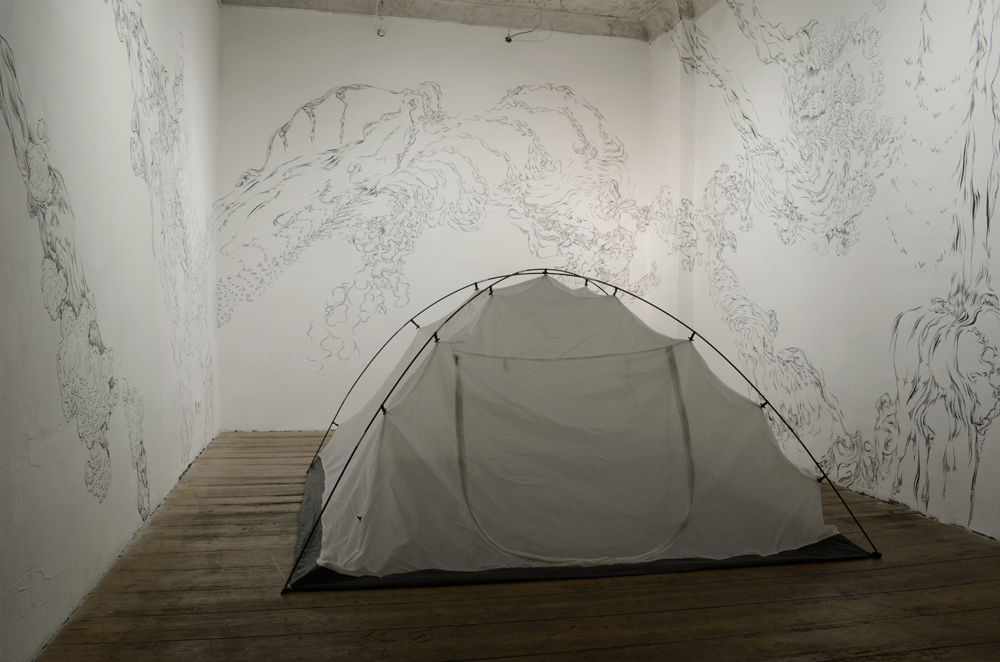 atrist in the tent talk - finishing installation after seven day performacne