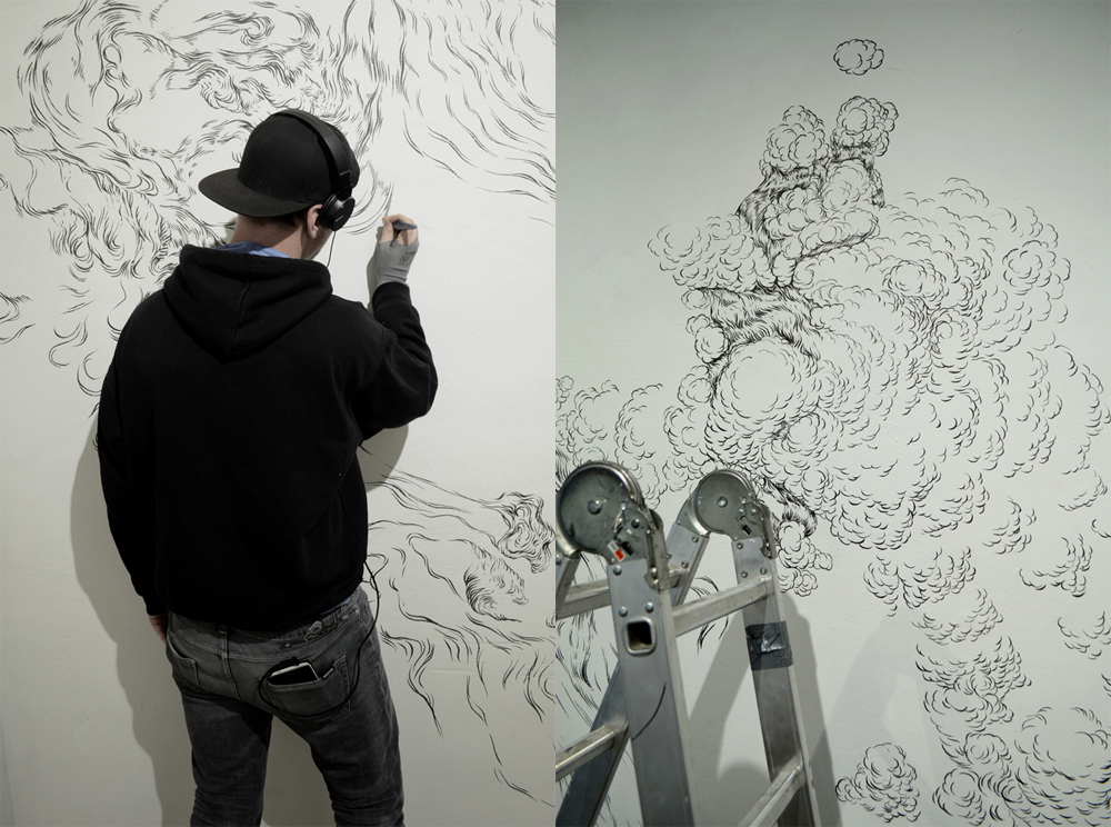 the drawing process/performance