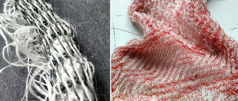 knitting experiments with different yarns on a knitting machine
