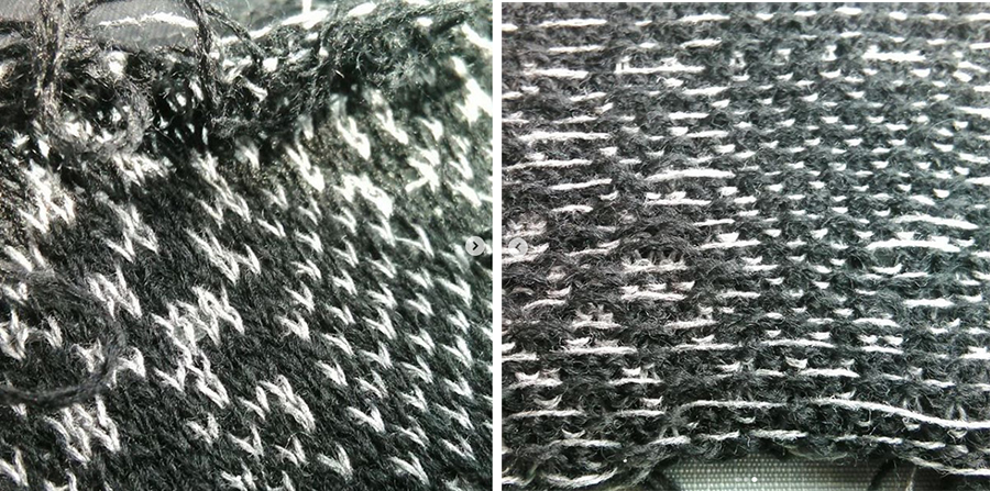 basic knitted structure (norwegian) on both sides